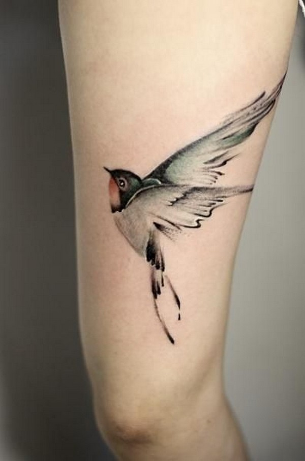 Realistic Flying Swallow Bird Tattoo For Back Arm