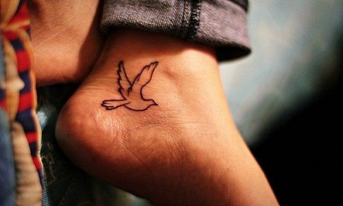 Small Flying Bird Tattoo Design On Men Ankle