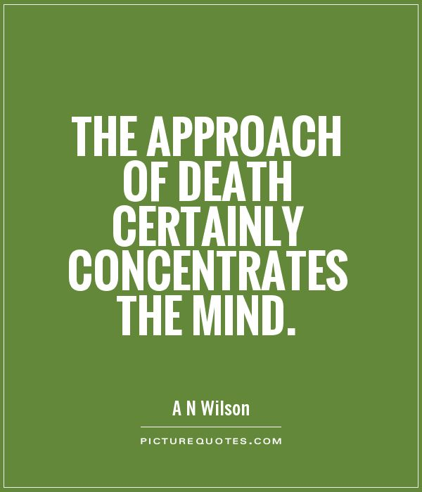 The approach of death certainly concentrates the mind - A.N. Wilson