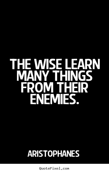 The wise learn many things from their enemies - Aristophanes