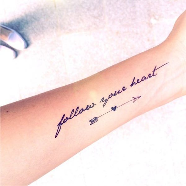 952ff60e3 Ultimate Arrow Heart and Quote Tattoo For Women Sleeve