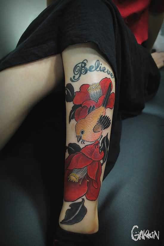 Ultimate Colorfyl Bird Flower Tattoo On Women Leg