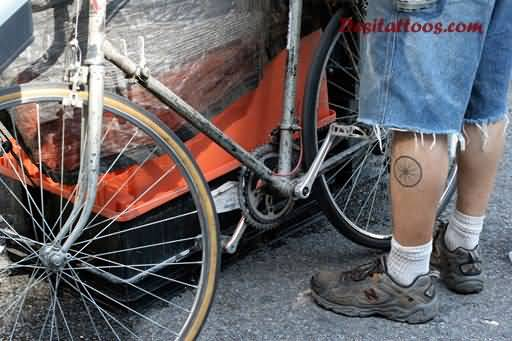 Unique Small Bicycle Wheel Tattoo Made On Men Side Leg