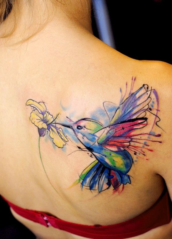 Watercolor Hummingbird With Flower Tattoo For Women Back Shoulder