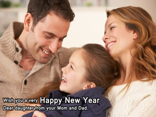 wish you a very happy new year dear daughter from you mom dad