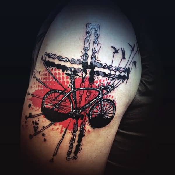 Nice Bicycle Tattoos For Men Upper Arm