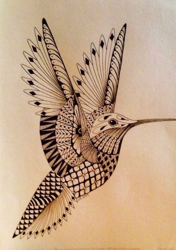 Wonderful Humming Bird Tattoo Stencil Design