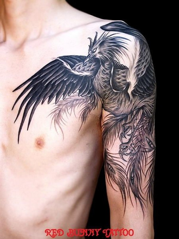 Wonderful Phoenix Bird Tattoo For Men Shoulder And Sleeve