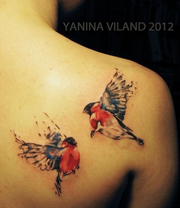 Wonderful Watercolor Love Bird Tattoo For Women Back Shoulder