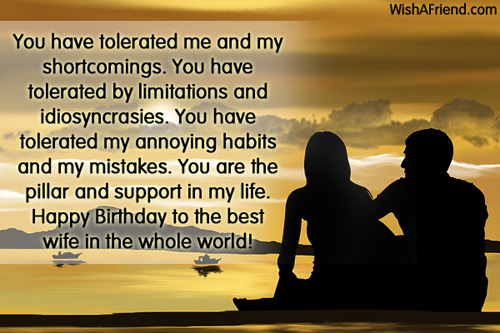 Wife birthday wishes segerios you have tolerated me and my shortcomings you have tolerated by happy birthday to the best m4hsunfo