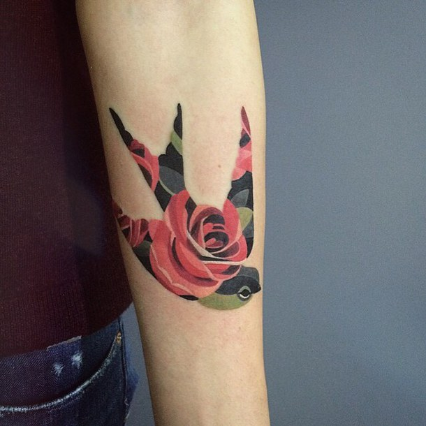 Awesome Collaboration Of Swallow Bird And Rose Flower Tattoo