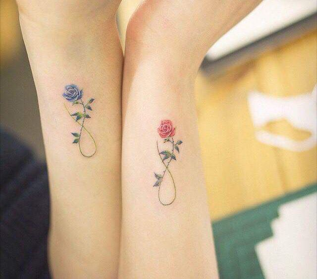 Beautiful Infinity Flower Vine Tattoo For Couple Arm