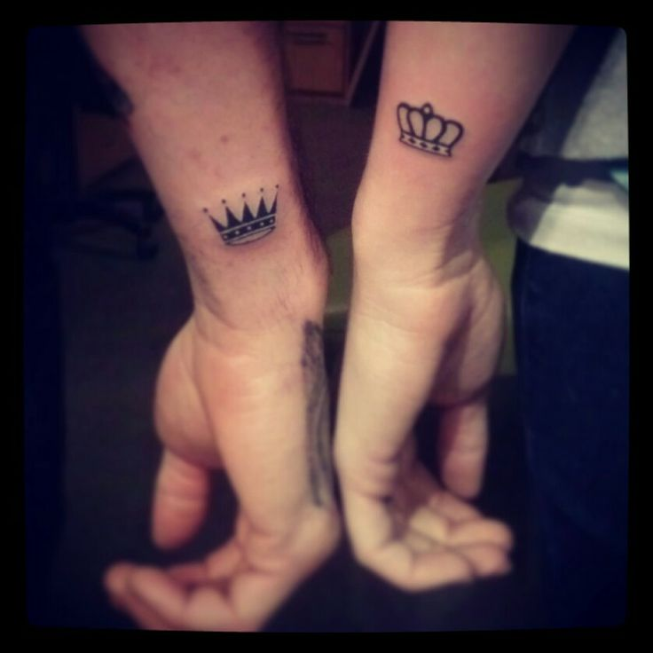 Fabulous Small Wrist Tattoo Of King And Queen Crown