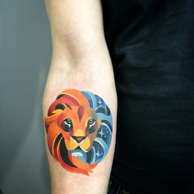 Outstanding Lion Head Tattoo Idea For Women Arm