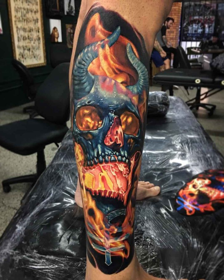 Burning Monster Skull Tattoo