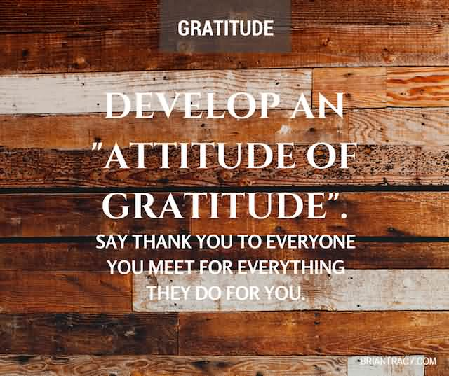 """Develop An 'Attitude Of Gratitude'. Say Thank You To Everyone You Meet For Everything They Do For You.""""- Brian Tracy"""