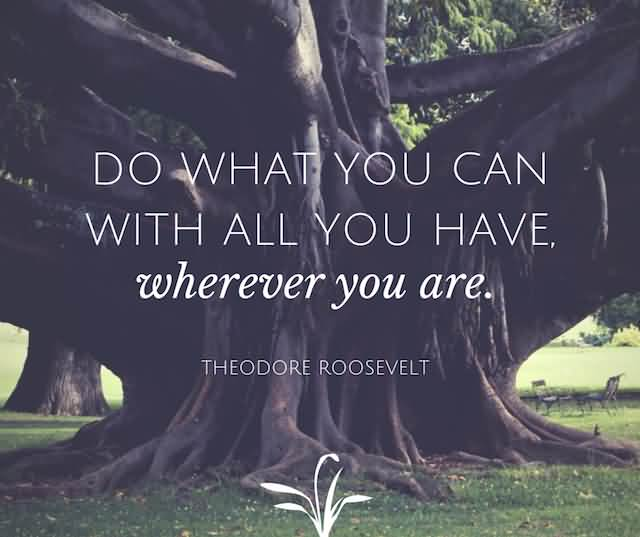 """Do What You Can With All You Have, Wherever You Are.""""- Theodore Roosevelt"""