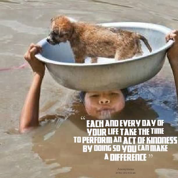 Each and every day of your life take the time to perform an act of kindness by doing so you can make a difference