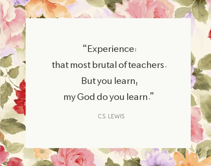 Experience that most brutal of teachers. But you learn, my God do you learn. ~ C.S. Lewis