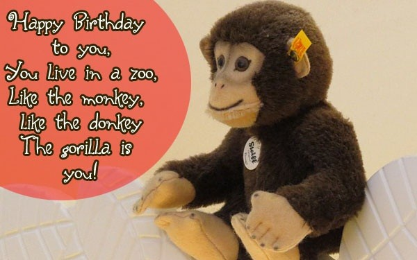 Happy Birthday to you. You live in a zoo, like the monkey, like the donkey. The gorilla is you