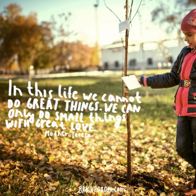 """In this life we cannot do great things. We can only do small things with great love."""" ~ Mother Teresa"""