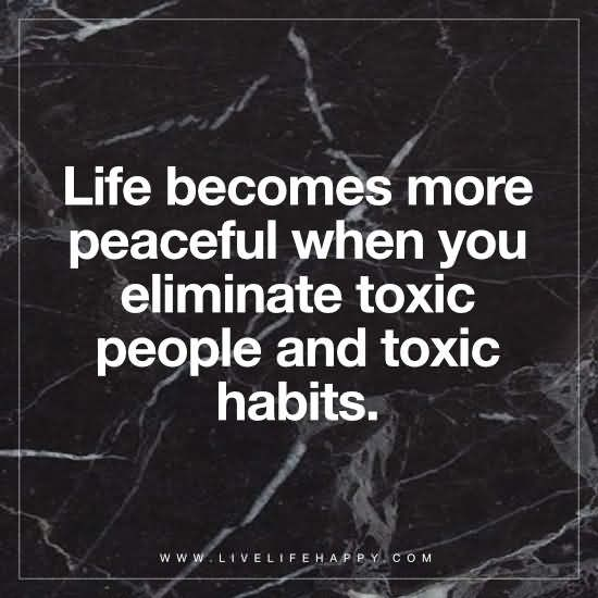 Life becomes more peaceful when you eliminate toxic people and toxic habits