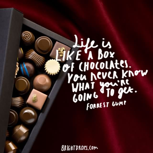 """Life is like a box of chocolates. You never know what you're going to get."""" ~ Forrest Gump"""