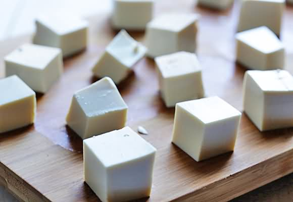 Small tofu cubes @ Healthy Food For Baby