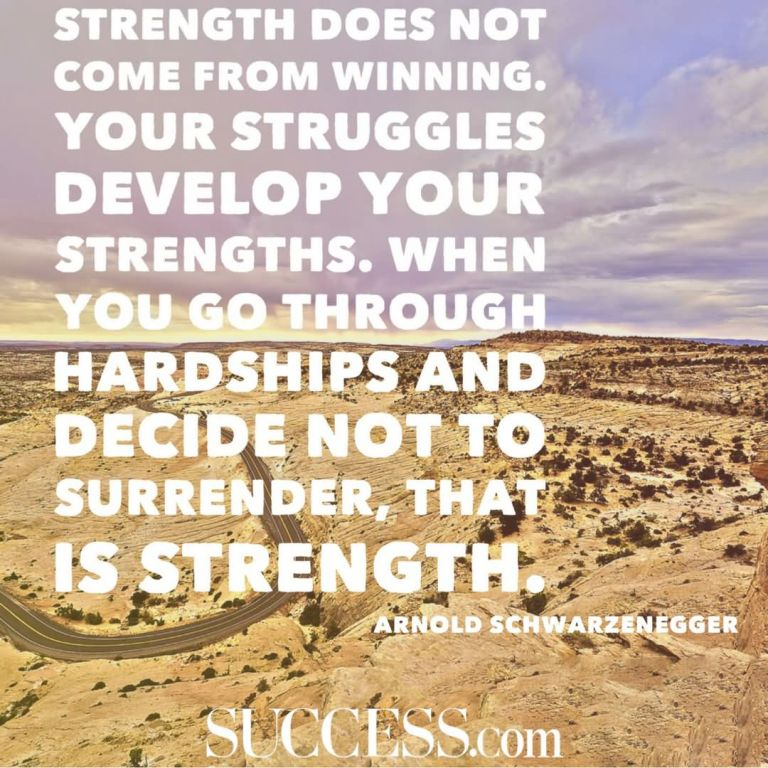 Strength does not come from winning. Your struggles develop your strengths. When you go through hardships and decide not to surrender, that is strength