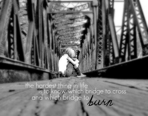 The Hardest Thing In Life Is To Know Which Bridg To Cross And Which