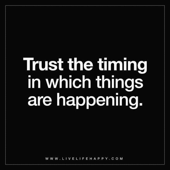 Trust the Timing in Which Things