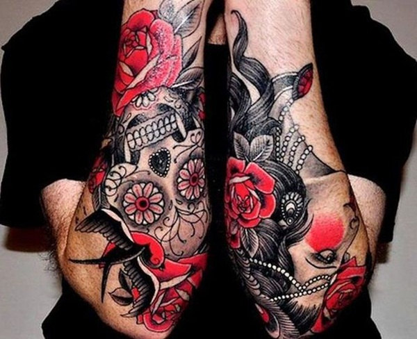 Beautiful Red Ink Tattoos Designs