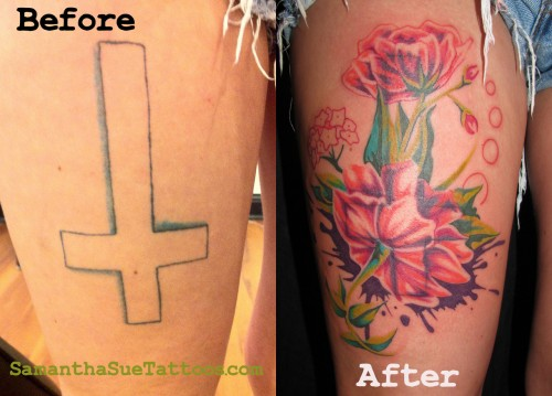 Charming Cover Up Tattoos Design
