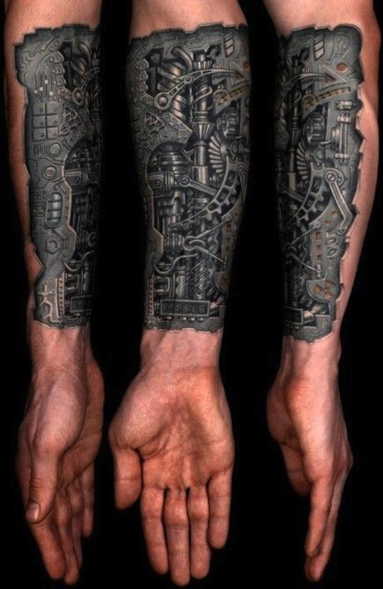Cute Biomechanical Tattoos Designs