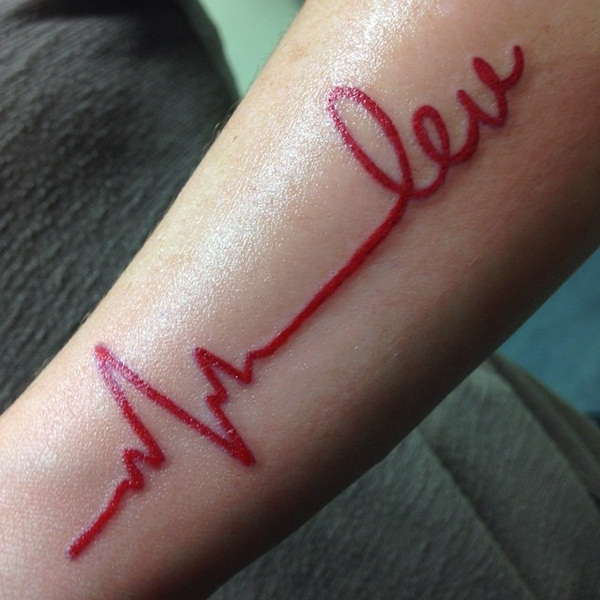 Cute Red Ink Tattoos Designs