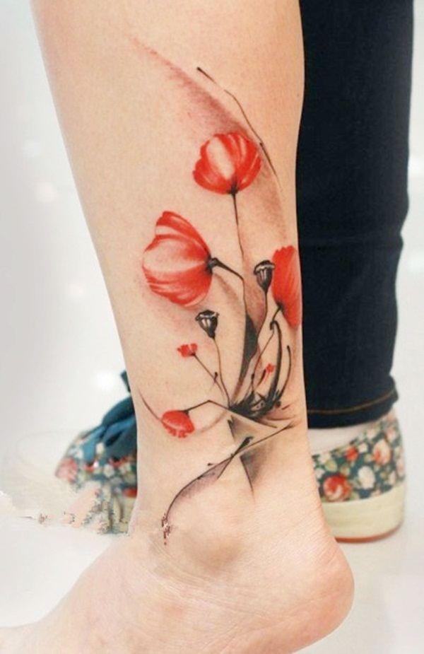 Elegant Red Ink Tattoos Designs