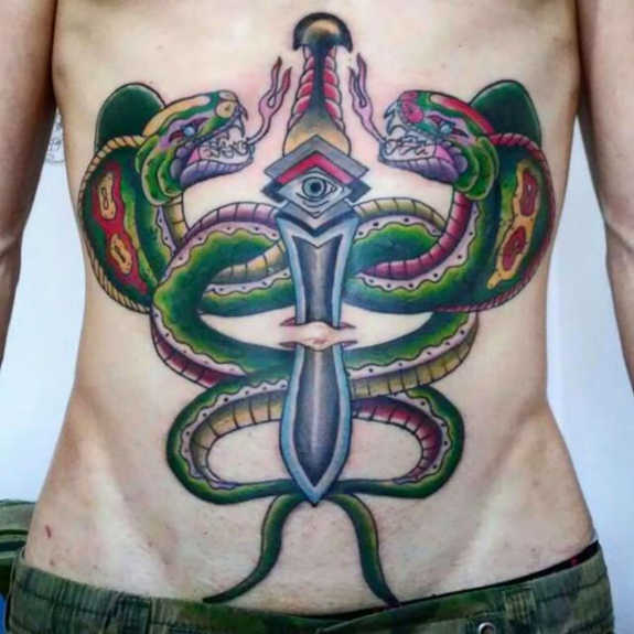 Extreme Stomach Tattoo Designs