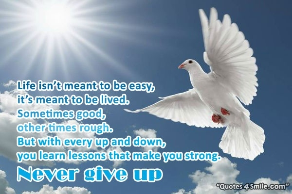 Life Is Not Meant To Be Easy So Never Give Up Life Quote For Life