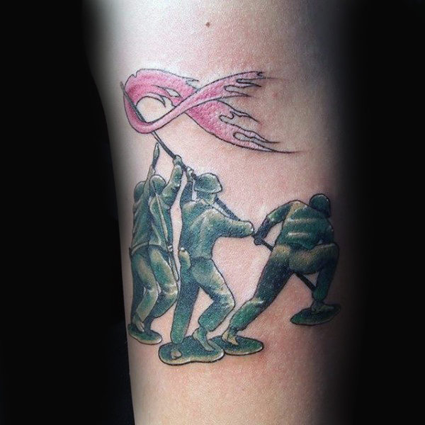 Outstanding Cancer Ribbon Tattoo