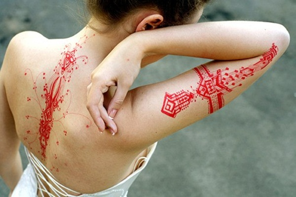 Wonderful Red Ink Tattoo Designs
